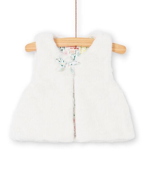 Gilet en fausse fourrure blanche bébé fille KIBOCAR2 / 20WG09N2CAR001
