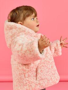 Doudoune à capuche réversible dorée et rose bébé fille MIORDOUREV / 21WG0951D3EA006