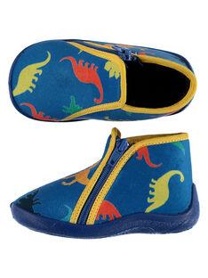 Chausson velours bleu dinosaures  bébé garçon GBGBOTDINO / 19WK38Z6D0AC218