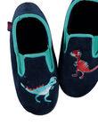 Chausson velours marine et dinosaures brodés enfant garçon GGSGDINO / 19WK36Z4D0B070