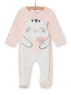 Grenouillère rose pâle motif chat bébé fille MEFIGRECHA / 21WH1382GRE301