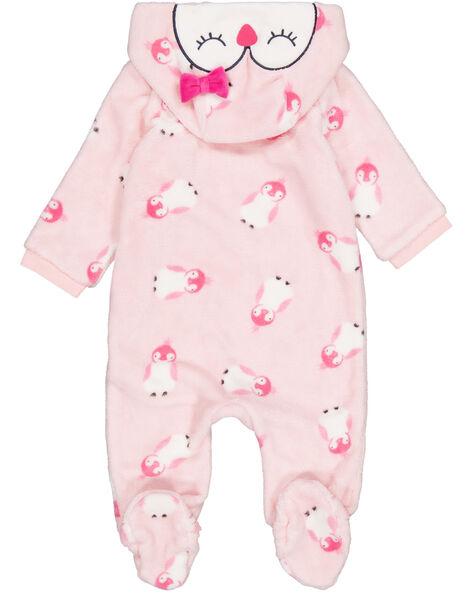 Surpyjama à capuche amovible, rose en soft boa layette fille GEFISURPYJ / 19WH13N1SPYD310