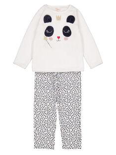 Pyjama écru en soft boa enfant fille GEFAPYJDA / 19WH11N5PYJ001