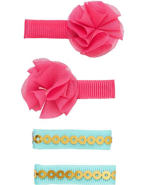 Lot de 4 clips - 2 roses (avec fleurs T/T) et 2 turquoises avec sequins OR  JYAWECLIC1 / 20SI0191BRT955