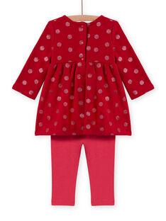 Ensemble rouge robe imprimé coeurs et legging à rayures bébé fille MIFUNENS / 21WG09M1ENS511