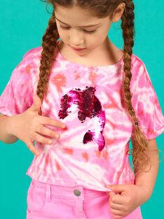 T-shirt manches courtes, tye and dye et dauphin en sequins magiques LABONTI4 / 21S901W1TMC000