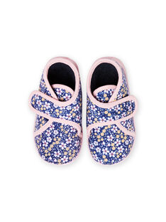 Chaussons bleu marine imprimé fleuri bébé fille MIPANTFLOWER / 21XK3721D0A070
