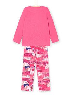 Pyjama T-shirt et pantalon fuchsia et blanc enfant fille LEFAPYJWAX / 21SH1157PYJ030