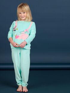 Pyjama enfant fille en velours motif flamant rose LEFAPYJFLA / 21SH1112PYJC242