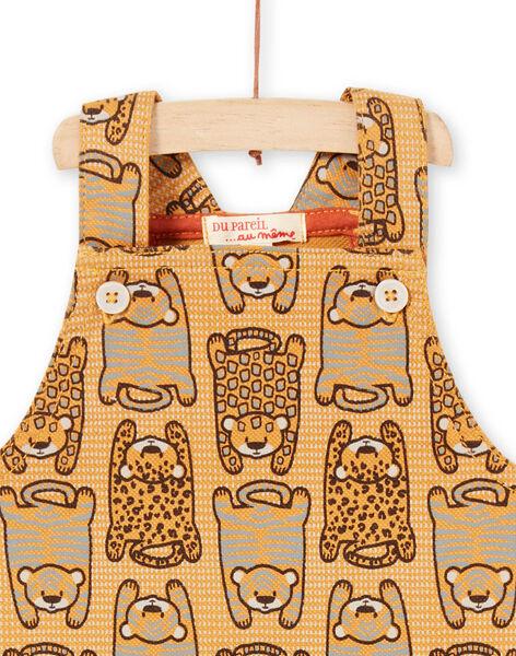 Salopette courte jaune moutarde bébé garçon LUTERSAC / 21SG10V1SACB106