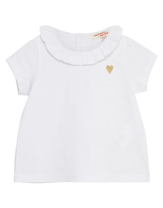 Brassiere manches courtes blanche layette fille JIJOBRA6 / 20SG09T1BRA000