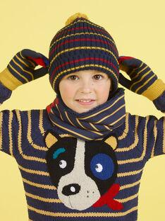 Bonnet bleu nuit, jaune et rouge à rayures et pompom enfant garçon MYOGROBON2 / 21WI0254BON705