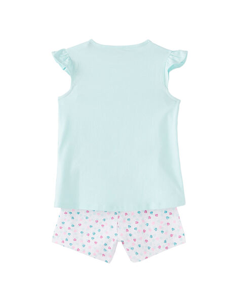 Pyjama court enfant fille bleu pâle et blanc JEFAPYJ1 / 20SH11U4PYJ219
