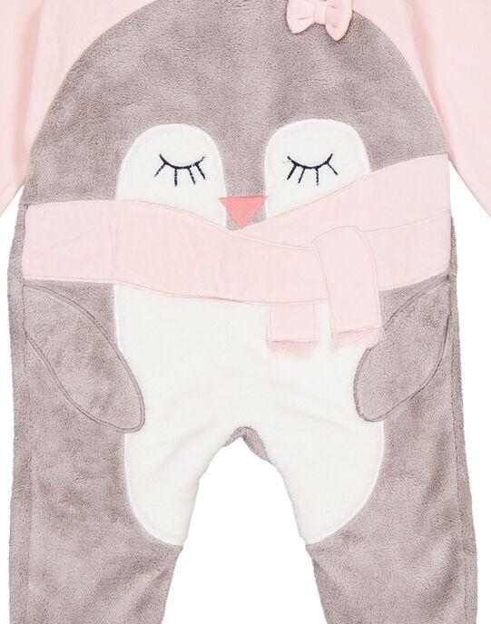 Grenouillère rose en velours et soft boa layette fille GEFIGREPIN / 19WH13N3GRE307