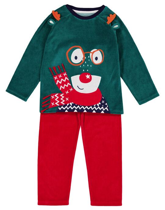 Pyjama de Noël en velours vert et rouge enfant garçon GEGOPYJNO1 / 19WH12T2PYJG614