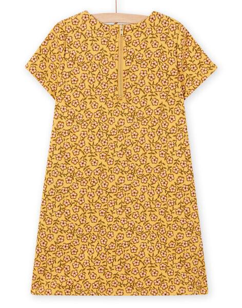Robe jaune imprimé fleuri et animation sac enfant fille MASAUROB4 / 21W901P4ROBB107