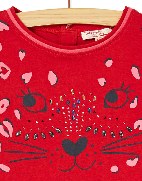 T-shirt manches longue imprimé petite tête de léopard et perles brillantes KABRITEE2 / 20W901F4TML408