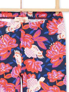 Legging bleu marine imprimé oiseaux et fleurs colorés enfant fille MYAPALEG / 21WI01H1CALC205