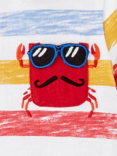 Polo ecru garçon rayures imprimées poche crabe JOCEAPOL / 20S902N1POL000