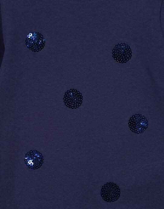 Tee-shirt marine à sequins fille GAJOYTEE1 / 19W90133D32070