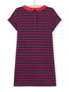 Robe milano rayée manches courtes rouge et bleu nuit enfant fille MAJOROB2 / 21W90126ROBC205