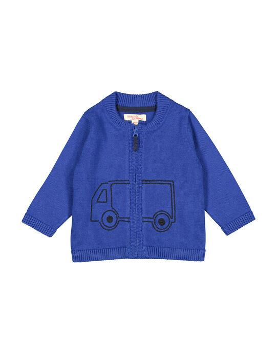 Gilet zippé bleu en maille bébé garçon FUJOGIL3 / 19SG1033GIL703