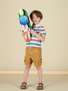 Polo garçon écru avec rayures imprimées habitées JODUPOL / 20S902O1POL001