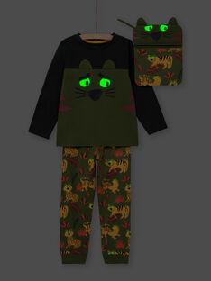 Pyjama phosphorescent vert kaki motif tigres enfant garçon MEGOPYJMAN3 / 21WH1273PYGG618