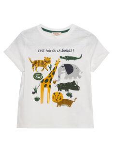 Tee shirt garçon manches courtes écru imprimé animaux  JODUTI4 / 20S902O2TMC001