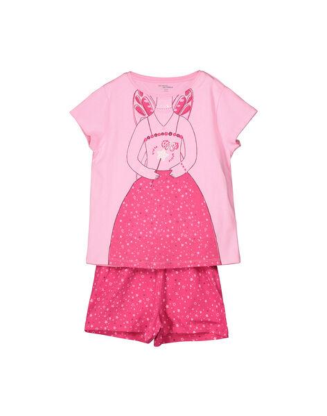 Pyjama short en coton fille FEFAPYJUDEX / 19SH1142PYGD301