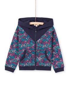 Haut de jogging à capuche et imprimé fleuri bleu nuit enfant fille MAJOHAUJOG4 / 21W90114JGHC205