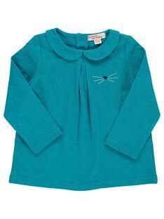 Tee-shirt turquoise col Claudine bébé fille DIJOBRA5 / 18WG0935BRAC217