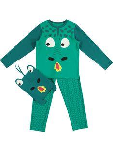 Pyjama déguisement vert enfant garçon avec son range-pyjama JEGOPYJMAN1 / 20SH12L2PYGG606