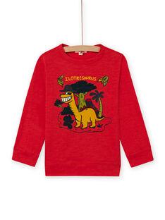 T-shirt manches longues rouge motifs dinosaures enfant garçon MOFUNTEE2 / 21W902M3TMLF505