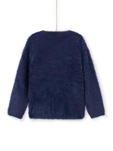 Pull bleu marine en fausse fourrure enfant fille MATUPULL / 21W901K1PUL070
