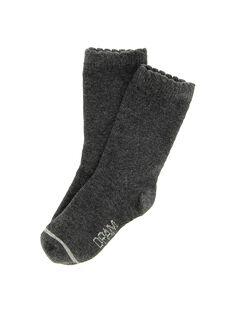 Chaussettes mi-hautes anthracite bébé fille DYIJOCHO6 / 18WI09J1SOQ944