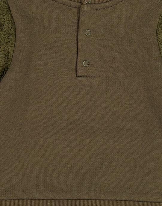 Sweat renard vert militaire bébé garçon GUBRUSWE / 19WG10K1SWEG631