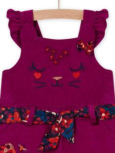 Salopette violine et ceinture en velours bébé fille MIPASAC / 21WG09H2SAL712