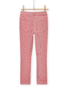Pantalon en velours côtelé rose à pois enfant fille MAJOVEJEG3 / 21W901N3PANH700