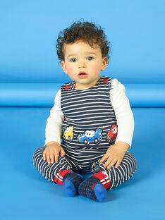 Salopette bleu nuit à rayures broderies voitures bébé garçon LUHASAL1 / 21SG10X2SAL713