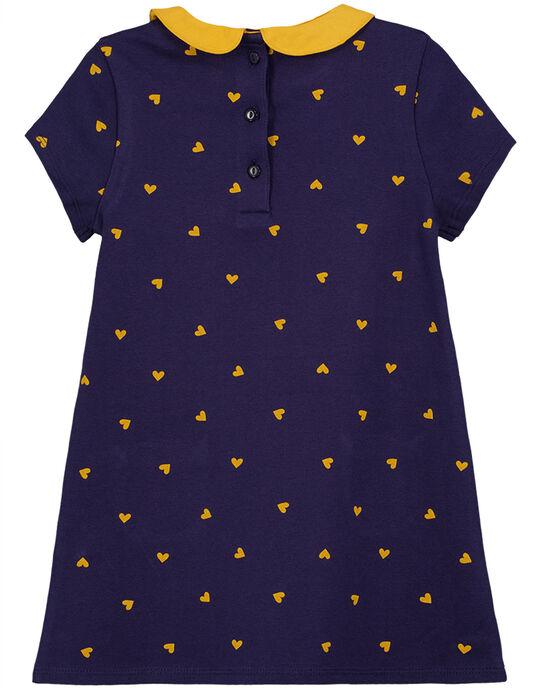 Robe manches courtes avec col claudine, imprimé à pois jaune et poches jaunes sur le bas de la robe. GAJOROB2 / 19W90142D2F070