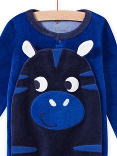 Grenouillère bleue motif zèbre en velours bébé garçon MEGAGREZEB / 21WH1491GRE217