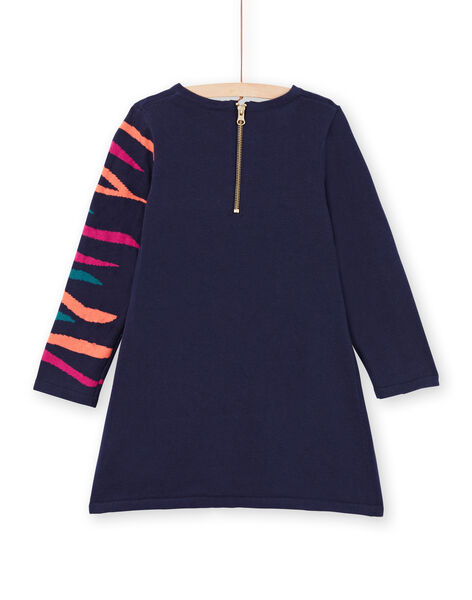 Robe bleu marine motif zèbre à sequins enfant fille MATUROB3 / 21W901K1ROB070