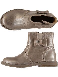 Boots en cuir lisse métalisé doré réhaussée par un nœud sur le côté. GFBOOTGOLD / 19WK35I3D0D954