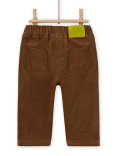 Pantalon marron en velours côtelé bébé garçon MUKAPAN2 / 21WG10I1PAN803