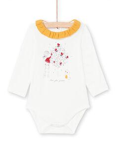 Body écru col volanté et motif fantaisie bébé fille MIMIXBOD1 / 21WG09J2BOD001