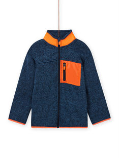 Gilet bleu-gris chiné à empiècements orange enfant garçon MOJOGITEK3 / 21W90213GIL219