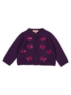 Cardigan violet layette fille GIVIOCAR2 / 19WG09R1CAR708