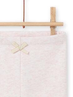 Legging doublé rose chiné à motifs lapins brodés bébé fille MIJOPANDOU3 / 21WG0912PAND314