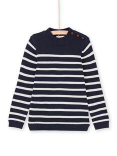 Pull bleu marine et blanc à rayures enfant garçon MOJOPUL1 / 21W90213PUL001